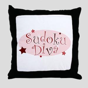 """Sudoku Diva"" [red] Throw Pillow"